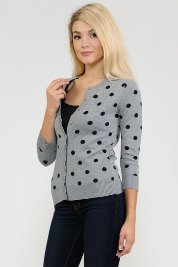 The Ava Classic Polka Dot Cardigan