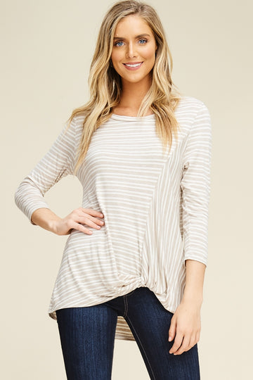 The Carmen striped twist knot top