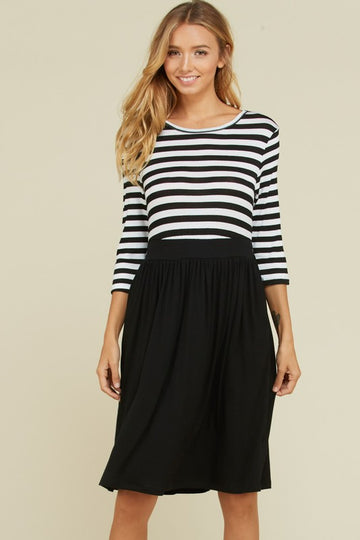 The Chloe Striped Midi Dress