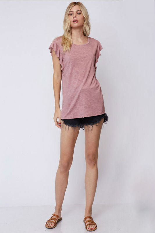 The Cornelia Ruffle Sleeves Tee