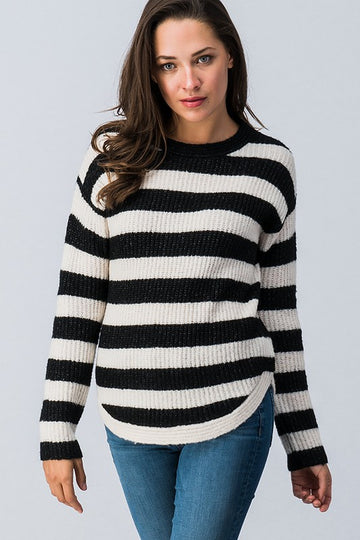 The Jenna Crewneck Sweater with stripes