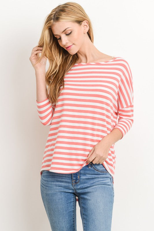 The Isabella Boatneck Striped Top