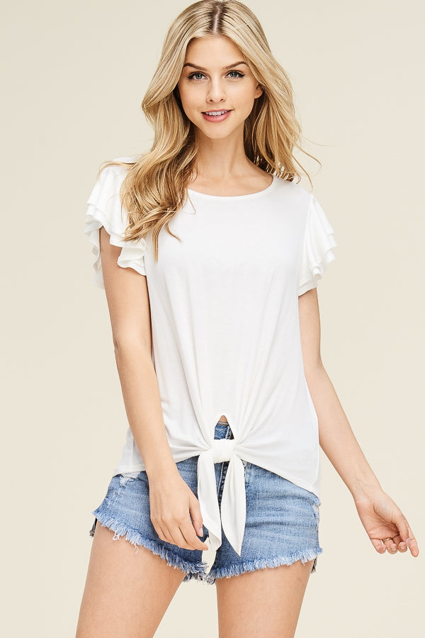 The Leila tiered ruffle short sleeve top (off white)