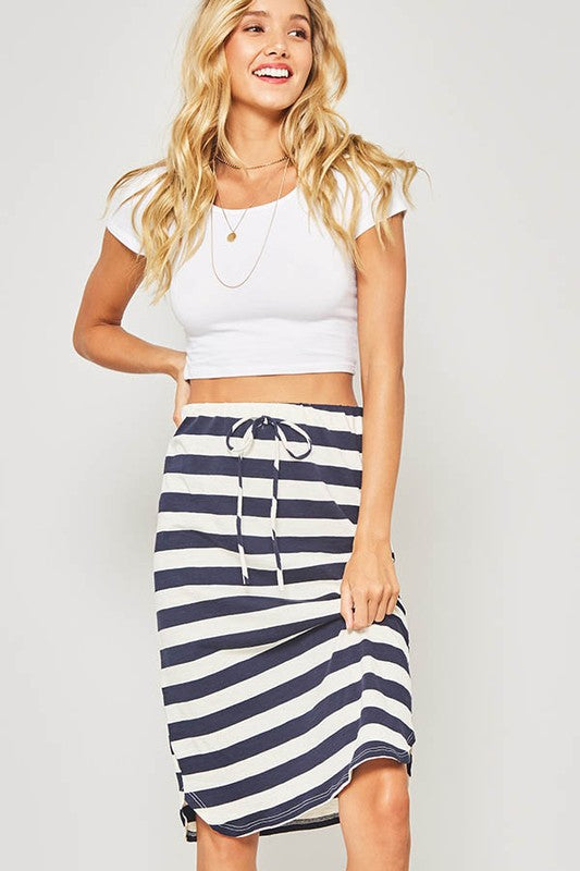 The Natalie Striped Midi Knit Skirt (navy)