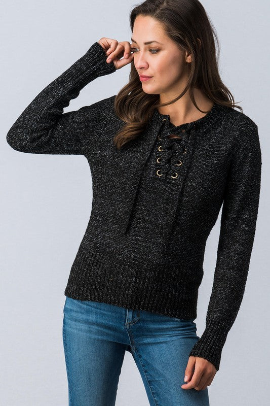 The Olivia Lace-Up Sweater
