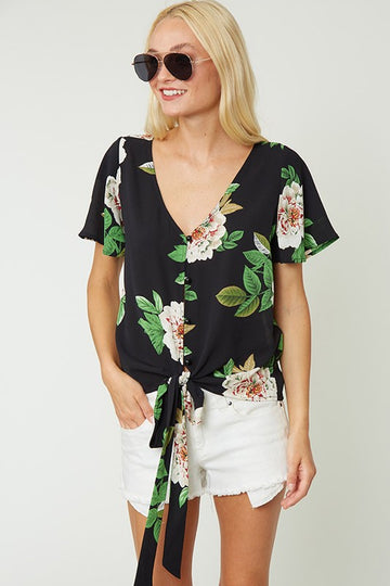 The Riley Self Tie Front Floral Top