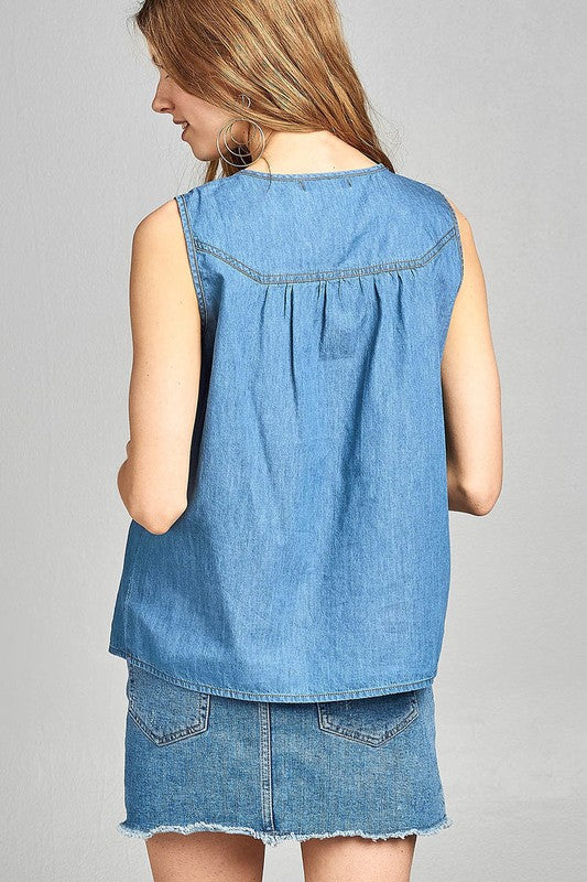 The Rosa Sleeveless Chambray Top