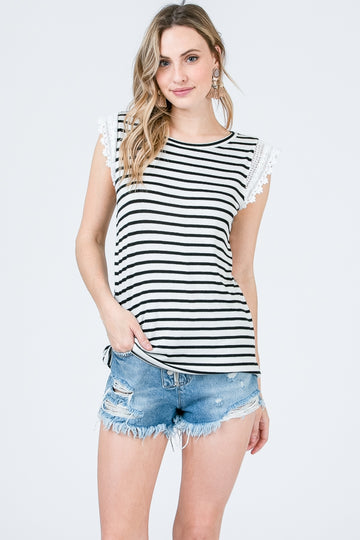 The Sarah Striped Tee With Lace Detail