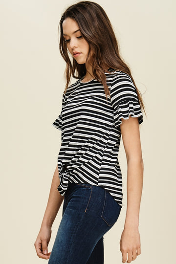 The Sofia Ribbed Striped Front Tie Top