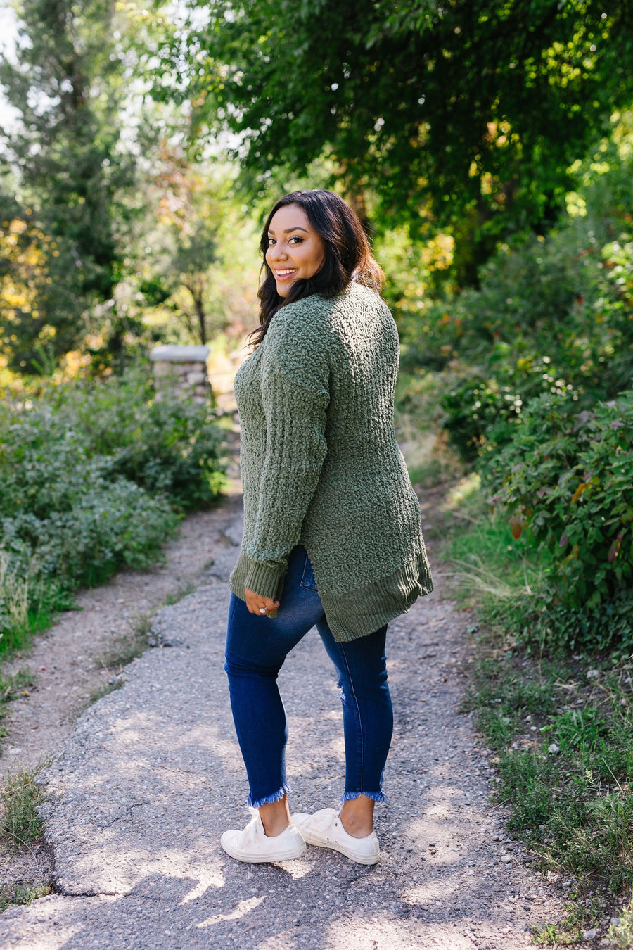 Cable Knit Popcorn Sweater In Olive