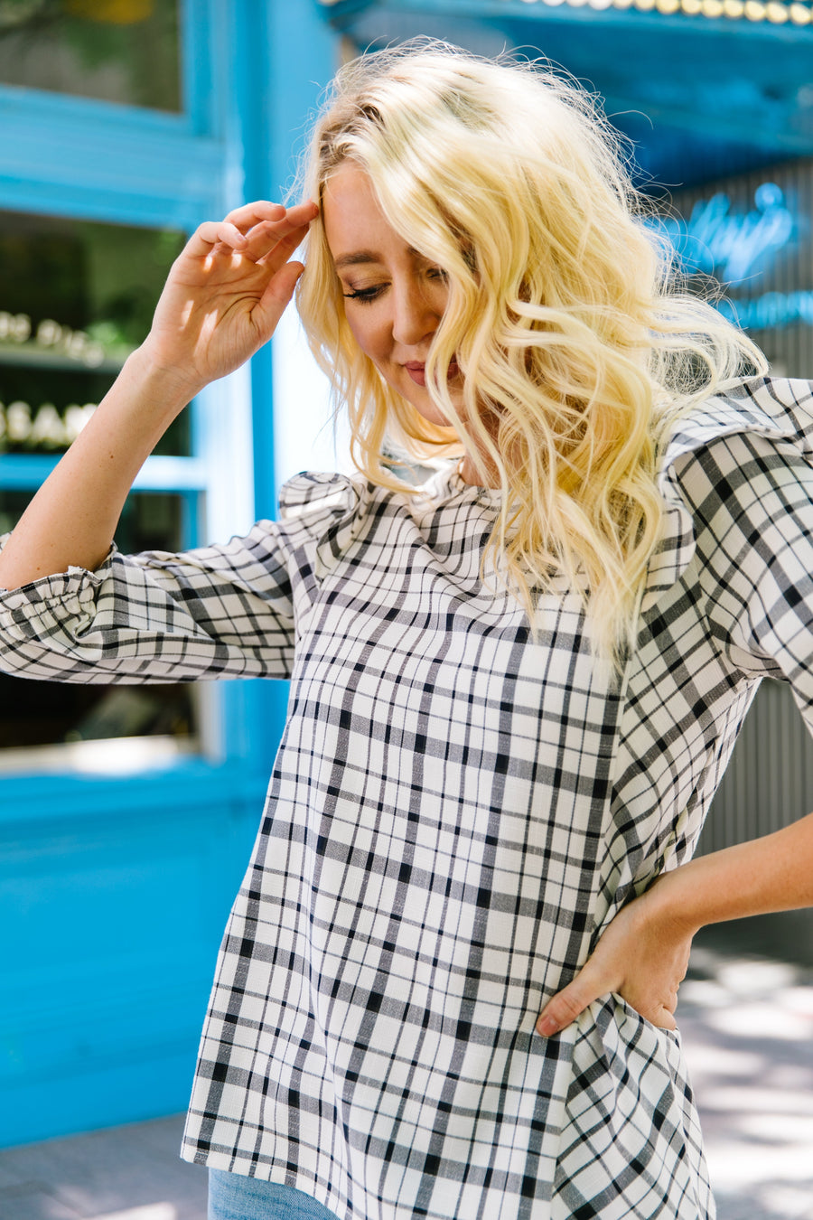Glad To Wear Plaid Blouse