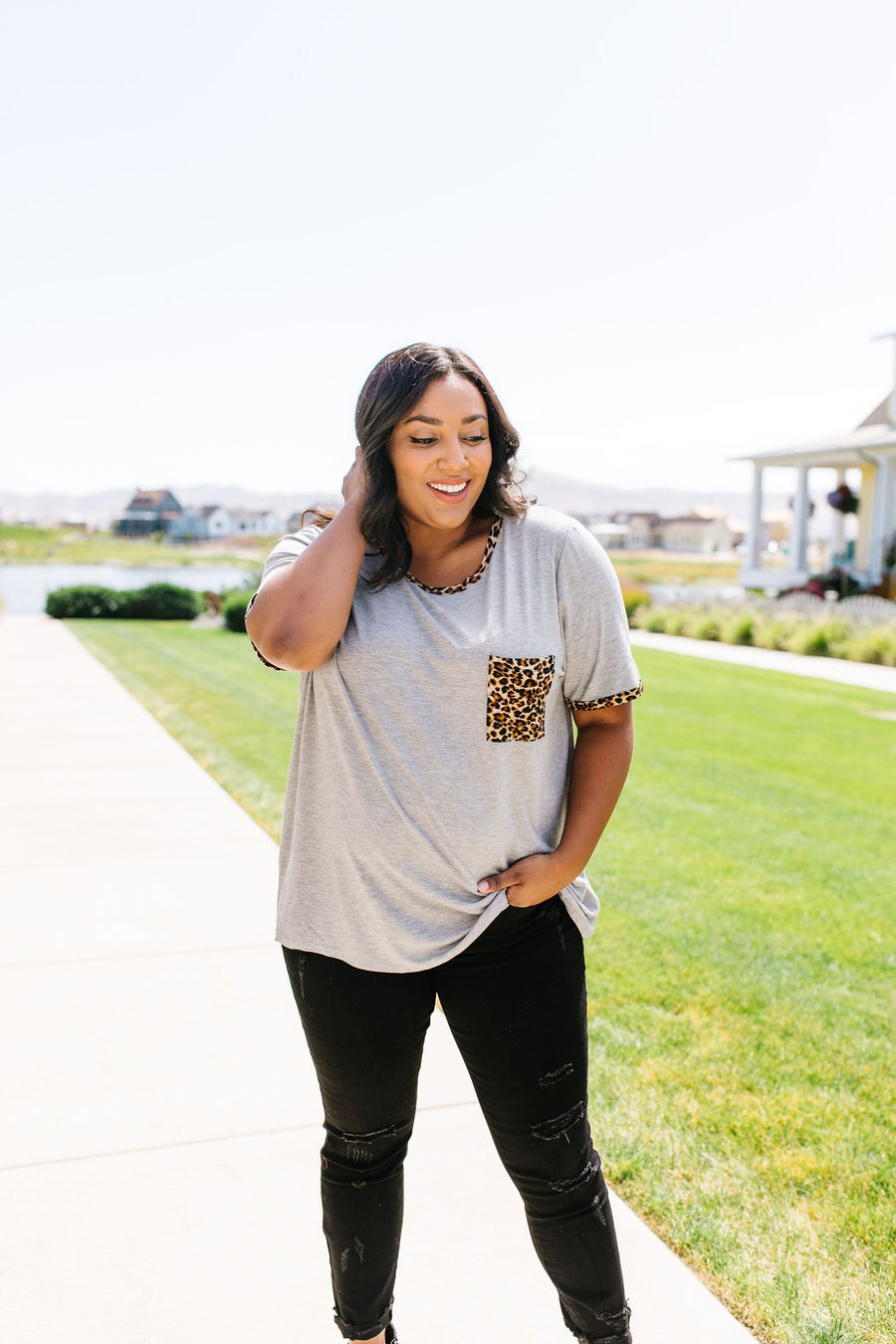 Leopard Trim Heather Gray Tee