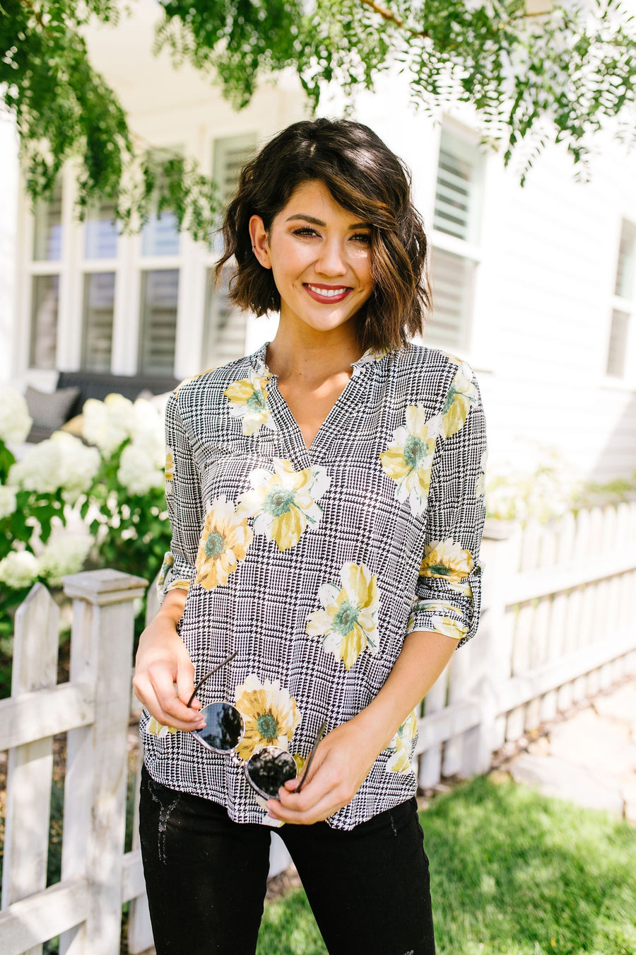 Poppies On Plaid Blouse