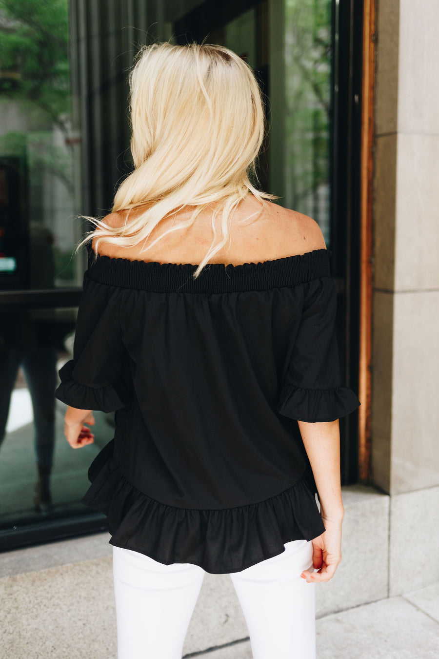 Tucks + Ruffles Off Shoulder Top In Black