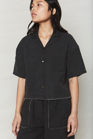 back beat co. Vintage Black Plant Dyed Bowling Shirt
