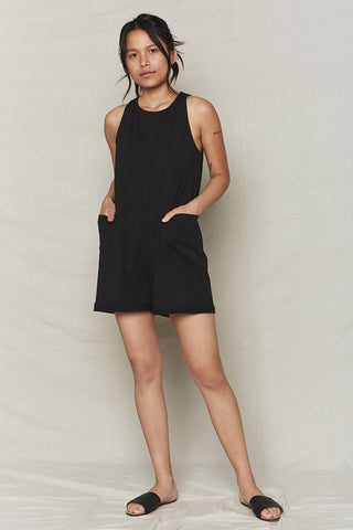 back beat co. Black Organic Cotton Everyday Romper