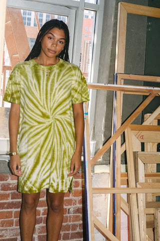 back beat co. Summer Green Tie Dye Recycled Cotton Dress