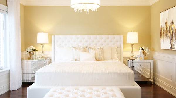 Chelsea Bed with Tufted Headboard White