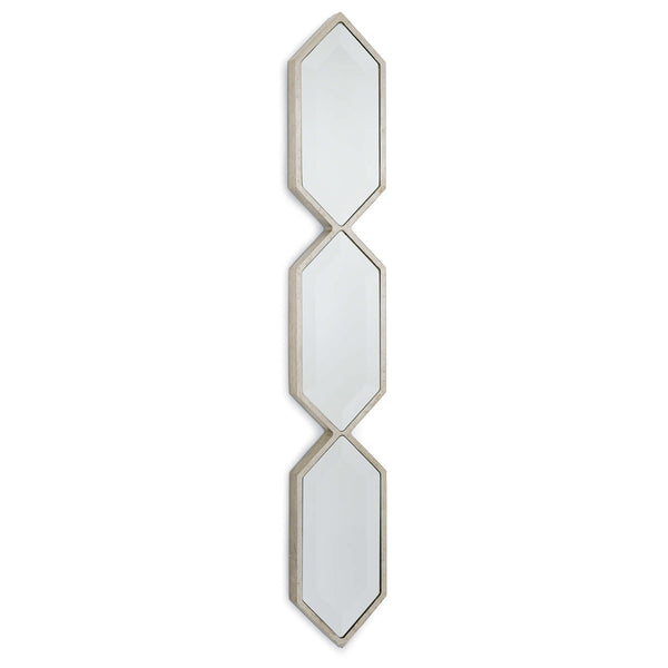 Triple Diamond Wall Panel Mirror Silver