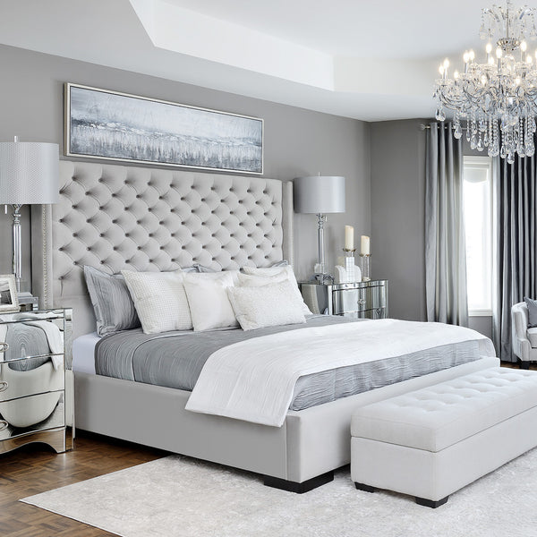 Chelsea Bed with Tufted Headboard Grey