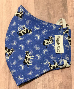 Blue cow print mask