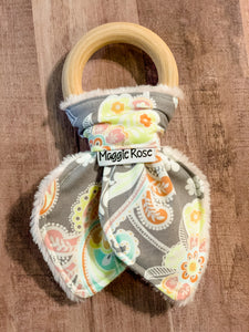Grey Paisley print teether