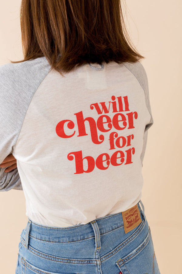 Ohio Cropped Baseball Tee - Will Cheer For Beer
