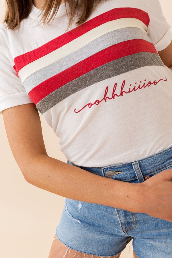 Ohio Stripe and Script Tee