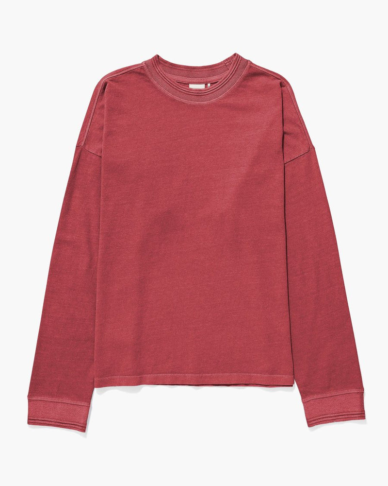 Ohio Long Sleeve Script Tee, Washed Red