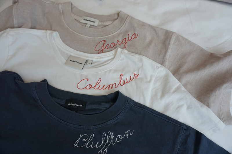 Customize Your Own Embroidered Script Tee in Ocean