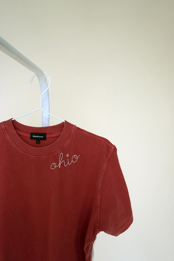 ohio script embroidered tee in red