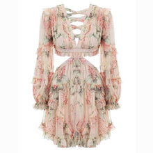 Load image into Gallery viewer, ]Sexy Backless Long Sleeve Floral Print Mini Dress
