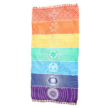 Load image into Gallery viewer, Mandala Blanket 7 Chakra Colored Tapestry Rainbow Stripes-CatCow Co