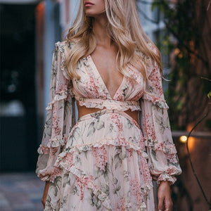 ]Sexy Backless Long Sleeve Floral Print Mini Dress