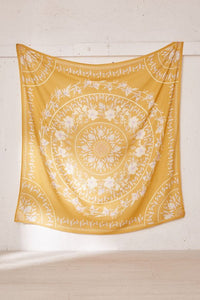 Mustard Mandala Tapestry/ Beach Towel-CatCow Co