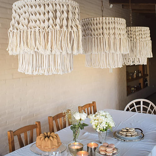 Chandelier Macrame Lampshade-CatCow Co
