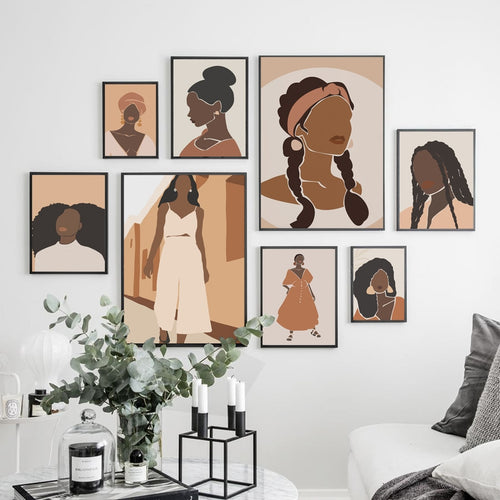 Abstract Boho Black woman Silhouette Canvas-wall art-CatCow Co