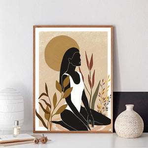 Afro Woman in the garden wall art Poster-wall art-CatCow Co