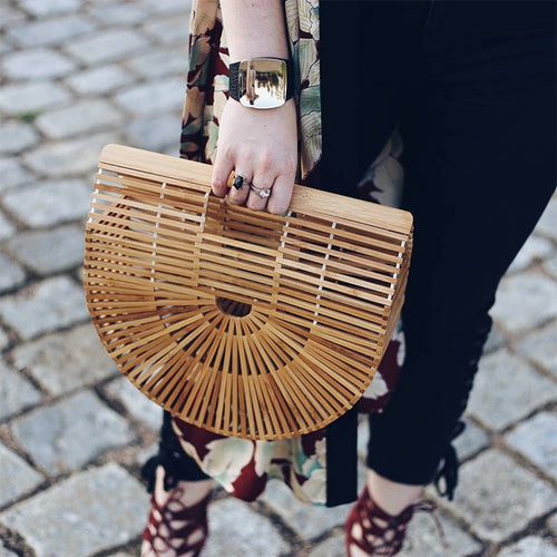 Boho Bamboo Clutch Bag (2 sizes)-CatCow Co
