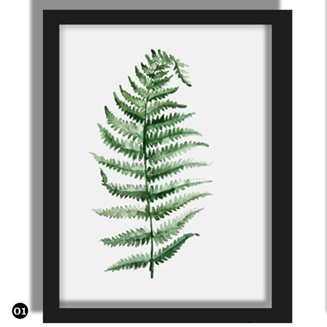 Green Plant Leaves Canvas (various styles)-CatCow Co