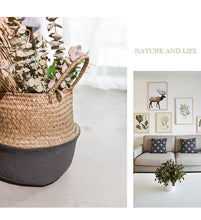 Load image into Gallery viewer, Charcoal Bamboo Seagrass basket-CatCow Co