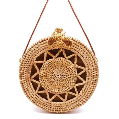 Round Atta Rattan Bag-CatCow Co