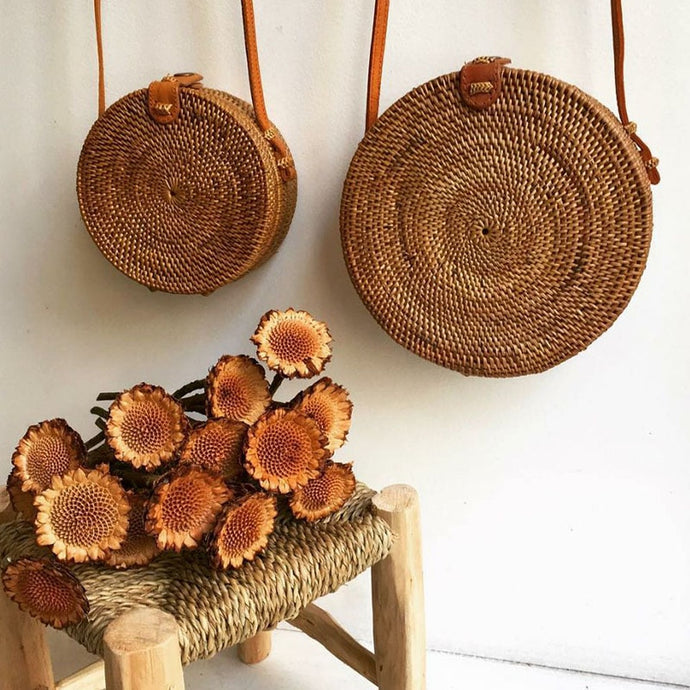 Raissa Woven Rattan Circle Bag-CatCow Co