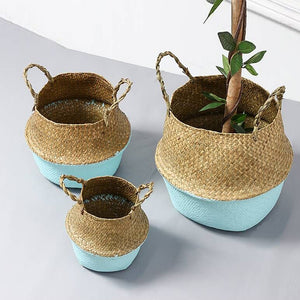 Sea Wicker Basket BLUE (multiple sizes)-CatCow Co
