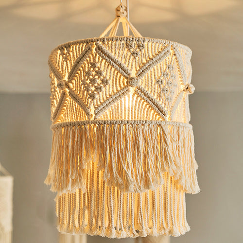 Macrame Tassel Pendant Chandelier-Lamp-CatCow Co