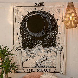 The Moon Tarot Card Tapestry-CatCow Co