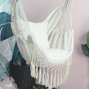 Beige Hammock  with Cushions and Macrame tassels