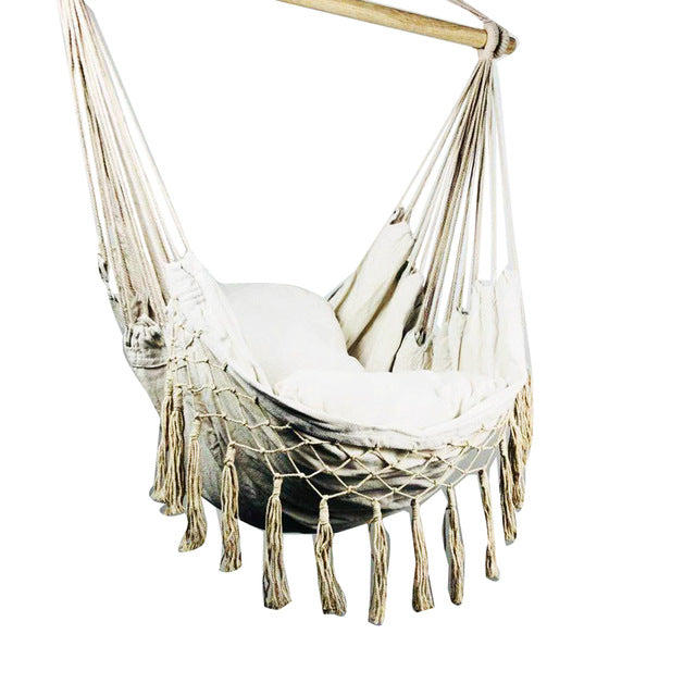 Beige Hammock with Cushions and Macrame tassels-Home & Garden-CatCow Co