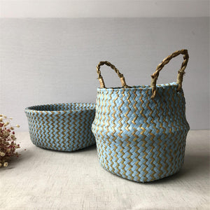 Foldable Handmade Seagrass Basket (beige an blue)-CatCow Co