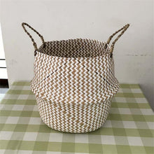 Load image into Gallery viewer, Foldable Handmade Seagrass Basket (beige an blue)-CatCow Co